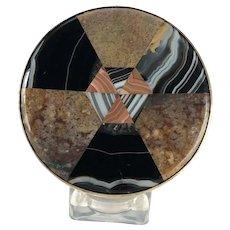 Round Plaid Scottish Inlaid Agate Chalcedony Snuff Box – Victorian