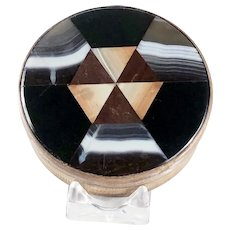 Round Plaid Scottish Inlaid Banded Agate Chalcedony Snuff Box – Victorian