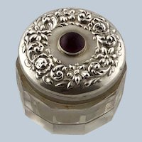Art Nouveau Repousse Sterling Silver Amethyst Crystal Dresser Vanity Jar