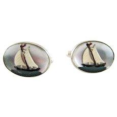 Pair Vintage Sailboat Essex Crystal Sterling Silver Cufflinks - Vincent Simone
