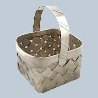 Vintage Sterling Silver Woven Basket with Handle