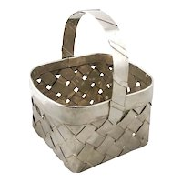Vintage Sterling Silver Woven Basket Weave Basket with Handle