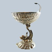 Sterling Silver Gilt Dolphin Shell Compote - c 1950