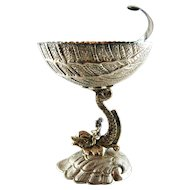 Sterling Silver Gilt Dolphin Shell Compote Master Salt – c 1950