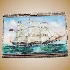 Antique Sterling Silver Enamel British Barque Ship Cigarette Card Case