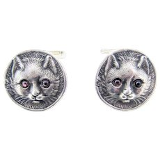 Pair Vintage Cat Cufflinks Sterling Silver by Vincent Simone