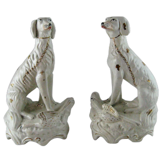 Pair Rare Victorian Staffordshire Setter Hunting Dogs with Birds