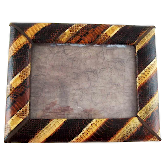 Large Vintage Two Tone Snakeskin Photo Picture Frame