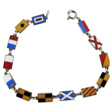 Vintage Enamel Signal Flag Bracelet - With all my love