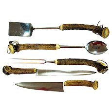 Large Five Piece Stag Horn Barbecue Set - Knives Anton Wingen Germany - 20 inches