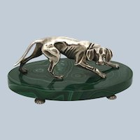 Sterling Silver Hound Dog Sculpture on Malachite
