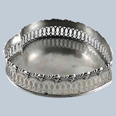 """Large 7"""" Heart Sterling Silver Tray – Howard Co.  c 1900"""