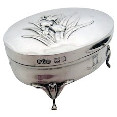 Art Nouveau Fitted Ring Box Elkington Sterling Silver – 1904