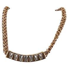 Vintage Anne Klein Gold Tone Rhinestone Necklace