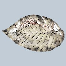 Small Figural Leaf Form Sterling Silver Tray – c 1920
