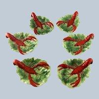 Set Six German Porcelain Lobster Lettuce Leaf Dish - 1902