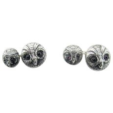 Pair Vintage Owl Cufflinks – Sterling Silver by Vincent Simone