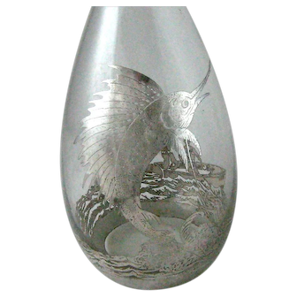 Vintage Silver Overlay Decanter Large Sailfish – Fishermen in Boat