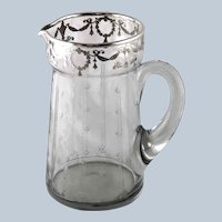 Antique Sterling Silver Overlay Etched Crystal Pitcher Jug