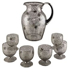 Mid Century Silver Overlay Star Pitcher with 6 Glasses - SAINT GRAAL France