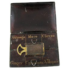 Circa 1900 Tole Spice Box with Nutmeg Grater