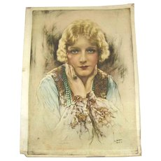 Vintage Movie Star Silk Portrait on Parchment – c 1930