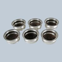 Set Six Silver Plate and Wood Bottle Glass Coasters – 4 inch