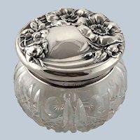 Large Art Nouveau Sterling Silver Repousse Poppies Crystal Dresser Powder Vanity Jar