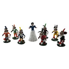 Snow White Seven Dwarfs Hand Blown Glass Germany c 1960