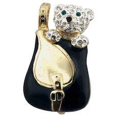 Vintage Teddy Bear in Satchel Rhinestone Black Enamel Brooch Pin