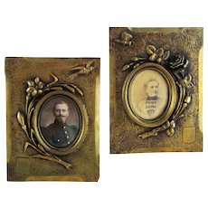 Pair Antique Bronze Photo Picture Frames Flowers Bird Butterfly