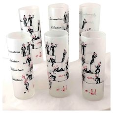 Circa 1950 Six Tall Cocktail Glasses Great Graphics Intoxicated Men in Top Hat Tails Tom Collins