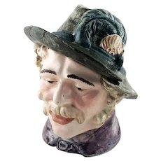 Austrian Majolica Figural Tyrolean Humidor Tobacco Jar