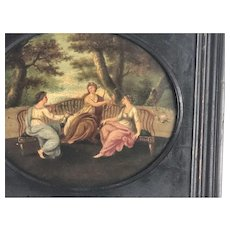 Late 18th Century Framed Neoclassical Tole Painting