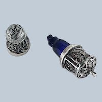 18th C Sterling Silver Thimble, Cobalt Scent Perfume Bottle, Etui