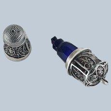 18th C Sterling Silver Thimble, Cobalt Scent Perfume Bottle, Etui
