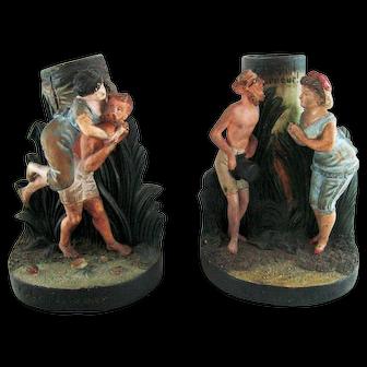 Pair Terra Cotta Amusing Bathing Belles  Figurine Spill Holders – c 1890