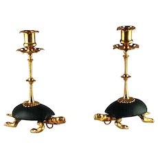 Pair Tortoise Turtle Figural Candlesticks – Dore Bronze and Leather – c 1880