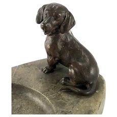 Antique Vienna Bronze Dachshund Doxie Dog on Dresser Desk Tray