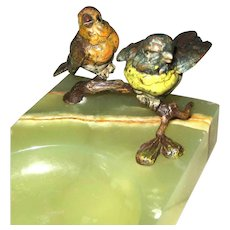 Antique Vienna Bronze – Two Birds on Onyx Tray