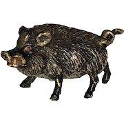Antique Miniature Vienna Bronze Wild Boar Cold Paint