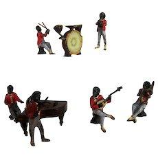 Seven Antique Miniature Austrian Black Americana Musical Band Sculptures - c 1920