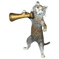 Small Victorian Vienna Bronze Cat with Megaphone