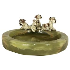 Antique Vienna Bronze 5 Fox Terrier Dogs in a Basket Onyx Tray
