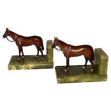 Pair Antique Cold Painted Vienna Bronze Horse Equestrian Onyx Bookends