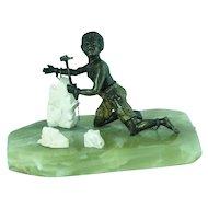 Antique Cold Painted Vienna Bronze  -  Black Slave in Salt Mines