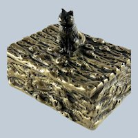 Antique Bronze  Cat Double Postage Stamp Box