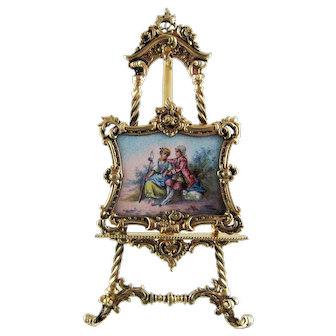 Viennese Enamel Silver Miniature Painting on Easel – c 1900