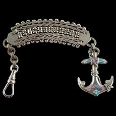 Victorian Metal Watch Fob Enamel Anchor with Enamel and Chain