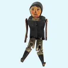 19th C Folk Art Stick Wooden Jointed Man Walking Toy